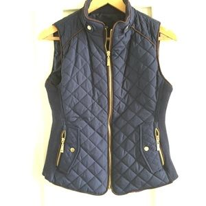 Quilted Navy vest gold zipper hardware small